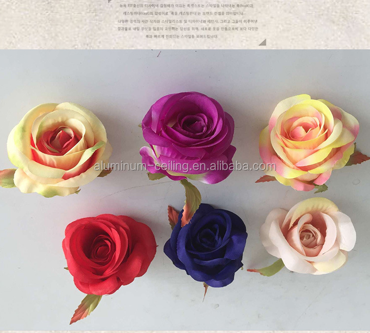 Home Decoration Silk Flower Colorful beautiful Rose artificial flower heads
