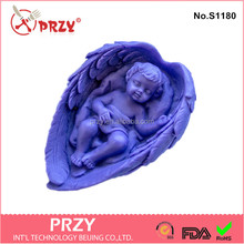 S1180 3d Baby sleeping in wings silicone soap mold baby wing handmade silicone mold for soap