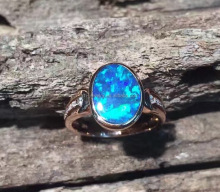 Opal colorful cabochon 18K gold rings jewelry