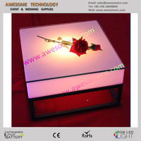 led lighted square brass coffee table (TP450)