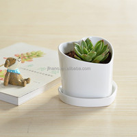 Unique small white ceramic heart shape flower pot with tray