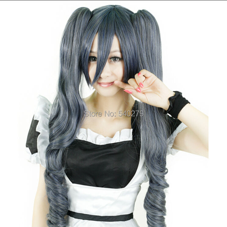 Japan Anime Black Butler Ciel Phantomhive Girl Cosplay Wigs Dark Grey Long Curly Synthetic Hair Ponytails Women Wig for Party