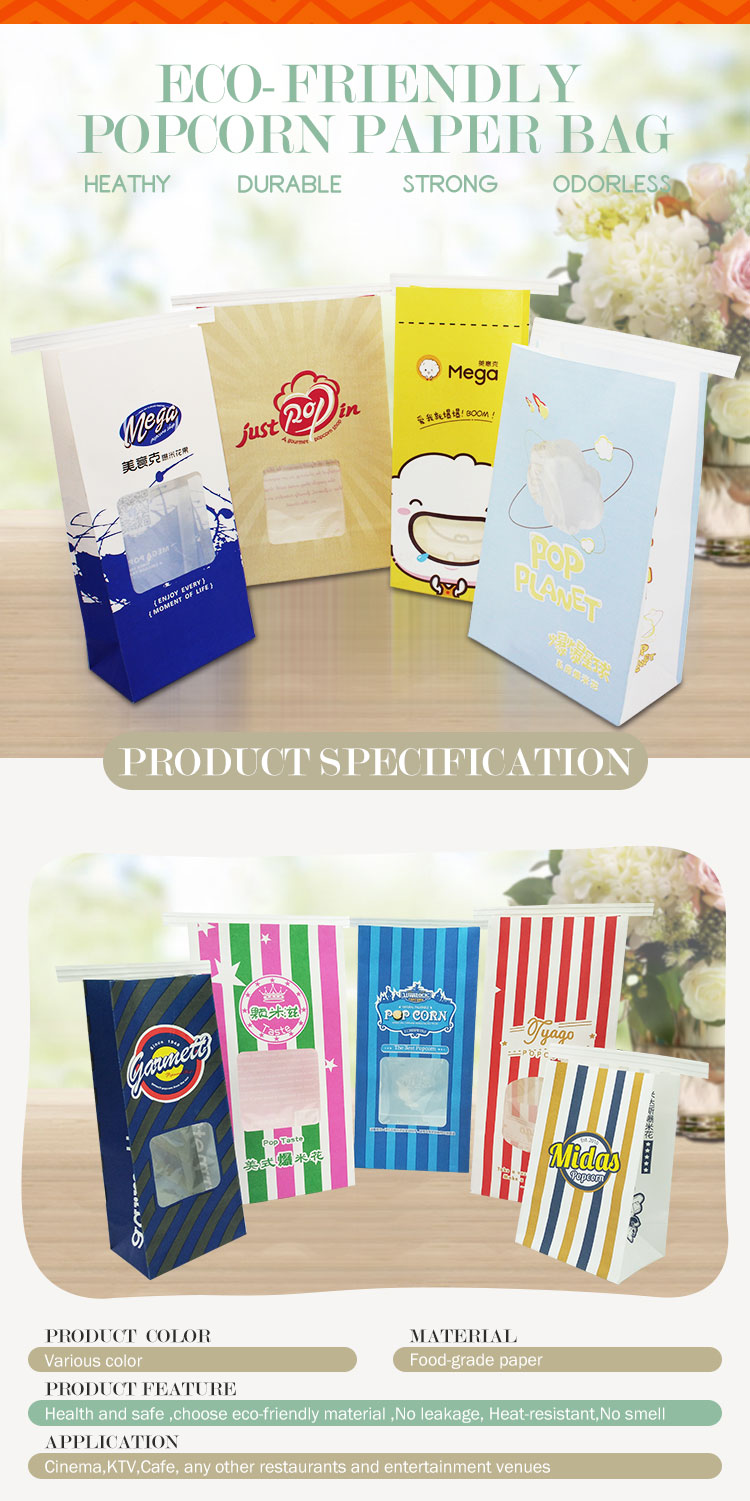 Glossy white paper pp linen packaging bread paper takeaway bag