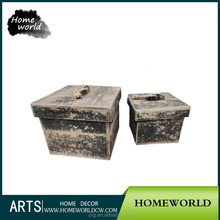 Distressed Black French Cottage Empty Natural Handmade Wooden Box