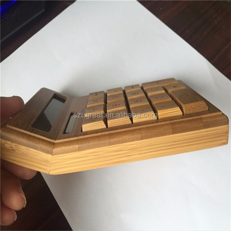 China manufacturer natural bamboo wood calculator, 12 digits sloar powered bamboo calculator for promotion gift