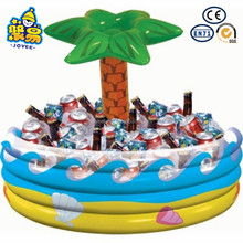 Popular design pvc square beer bottle cooler , inflatable palm tree ice bucket