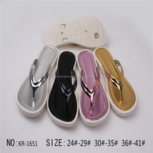 popular golden sliver PVC PCU slipper for woman fastion style shoes