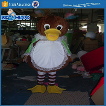 Cute little ducky girl duck in dress funny cartoon character high quality custom mascot costume