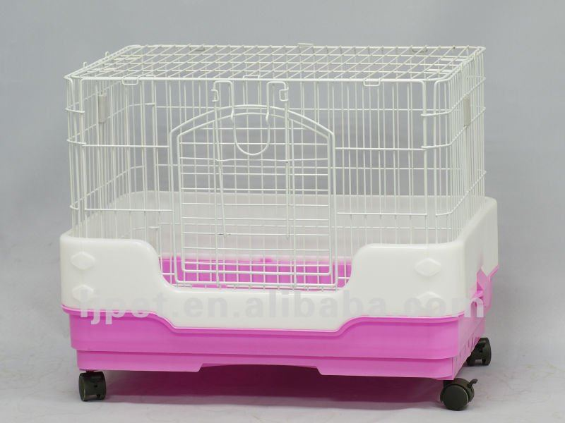 R65, wire plastic Rabbit cage, 4 colors,with anti spill fench