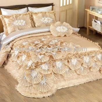 Handwork Patchwork Luxcury Cream Wedding Bedding Set