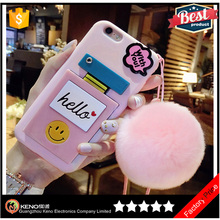 Hot salling 2016 TPU mobile casesaccessories cute phone case for iPhone 7 with makeup mirror rabbit fur ball