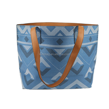 Multi-function new design high quality denim pu tote leather bag