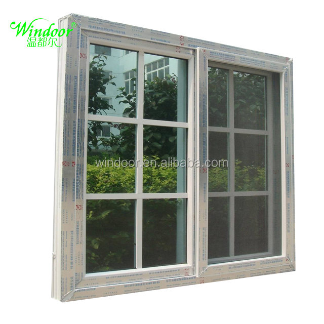 PVC Latest style sliding windows with fly screen windoor brand pvc material sliding windows