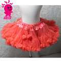 High quality! wholesale kids skirt solid color kids skirt chiffon pettiskirt tutu with pom