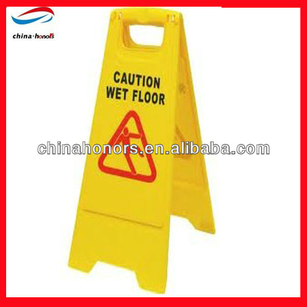 yellow safety caution wet floor sign/plastic flooring for wet areas