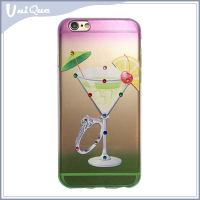 Newest popular 3D liquid painted rubber phone case for iphone 5 6 PLUS 7, wine glass design with diamond soft tpu back cover