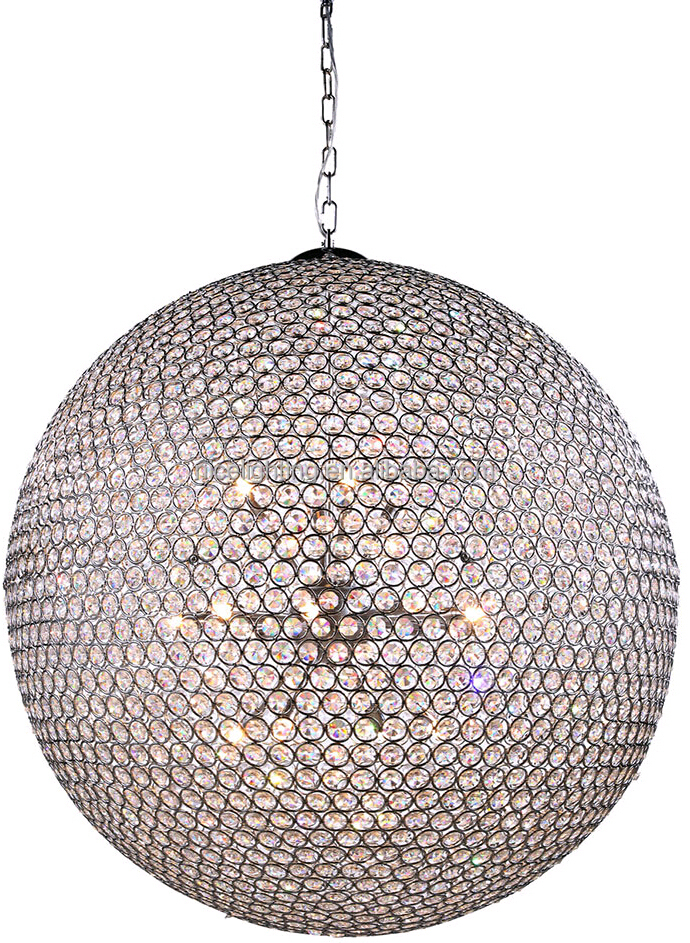 china supplier new arriving modern fancy pendant light hanging chrome coloured top k9 crystal glass ball chandelier for hotel