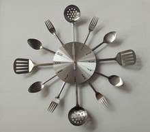 Knife and Fork and Spoon Stainless Steel Kitchen Wall Clock