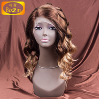 Qingdao factory best selling Malaysian middle part two tone lace front wig