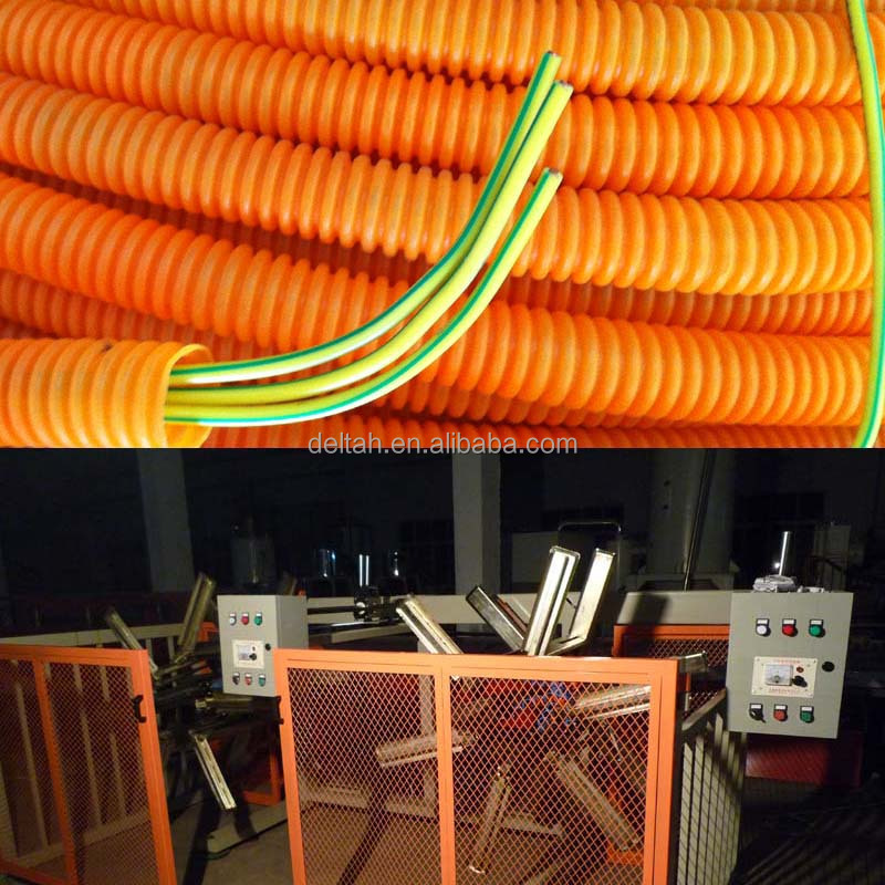 Electric wire through corrugated hose extrusion machine