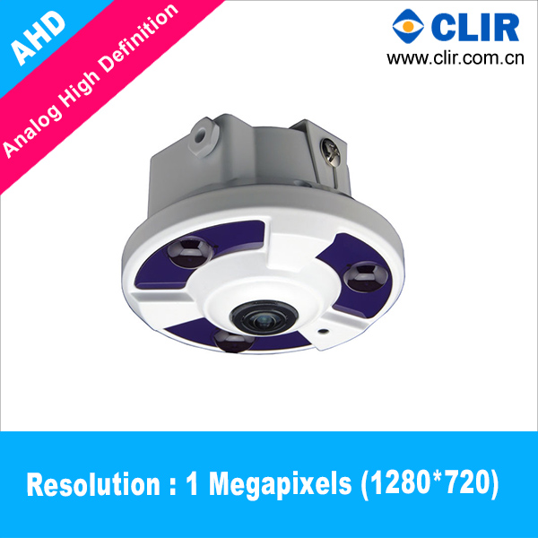 AHD 1 Megapixel 3pcs IR Array Leds fisheye lens 360 degree cctv camera