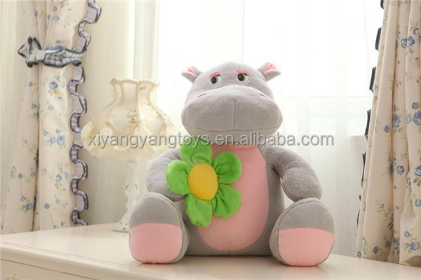 plush animal hippo toy gray soft stuffed hippo toy with flower on hand