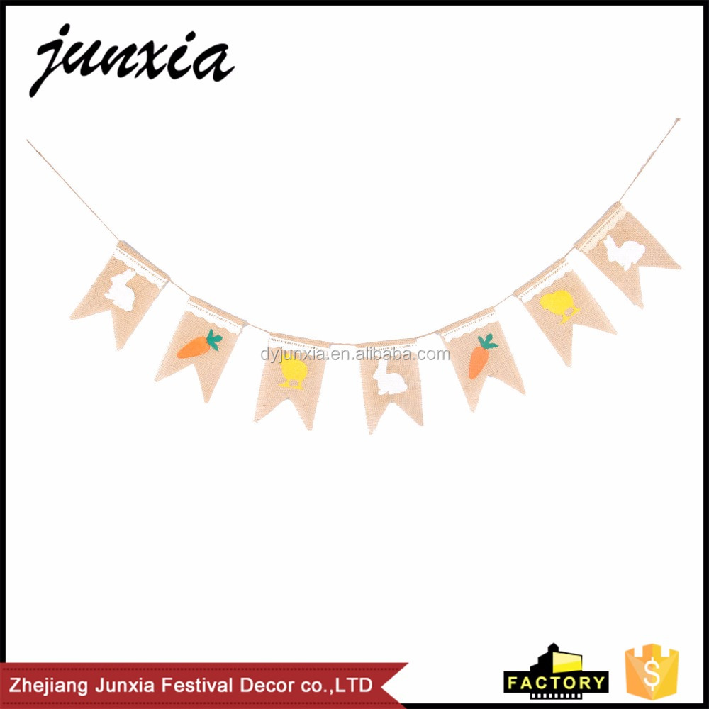 Dongyang Junxia 2016 Hot Sale Party Decoration Jute Bunting Banner Easter Rabbit Burlap Banner Home Decor <strong>Supplies</strong>