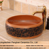 Chinese wholesale color glazed art counter top wash basin for bathroom design