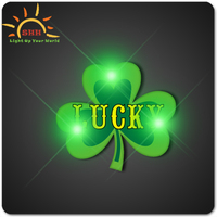 Free design quantity led flashing Shamrock badge pin or necklace