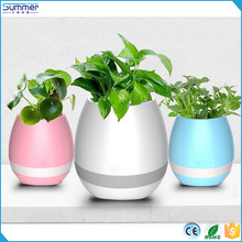 2017 Trending Product Green Plant Smart Touch Sensitive Flowerpot Plastic New Music Flower Pot with LED Light Bluetooth Speaker