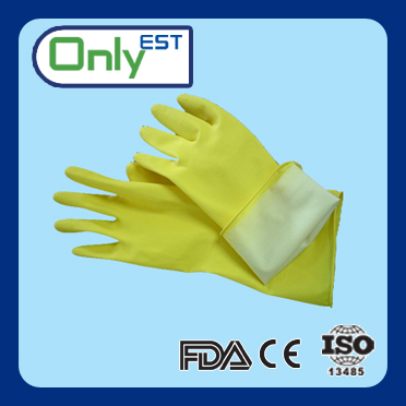 Long cuff working rubber wash gloves household latex gloves yellow