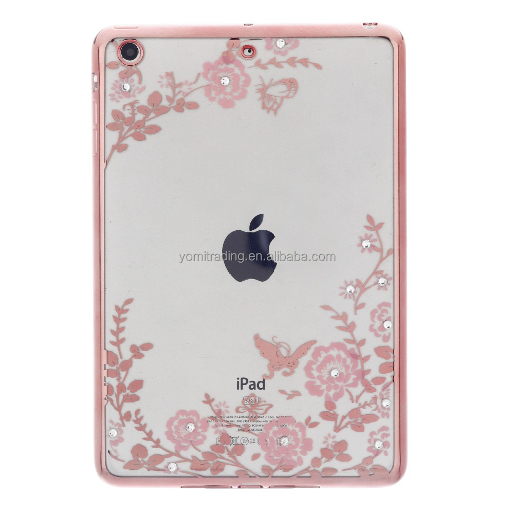 Slim Soft TPU rose gold and gold Plating Frame Secret Garden with Diamond Case for iPad Mini 1/2/3