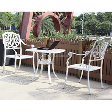 European style cast aluminum patio coffee table and chairs white outdoor metal <strong>furniture</strong>