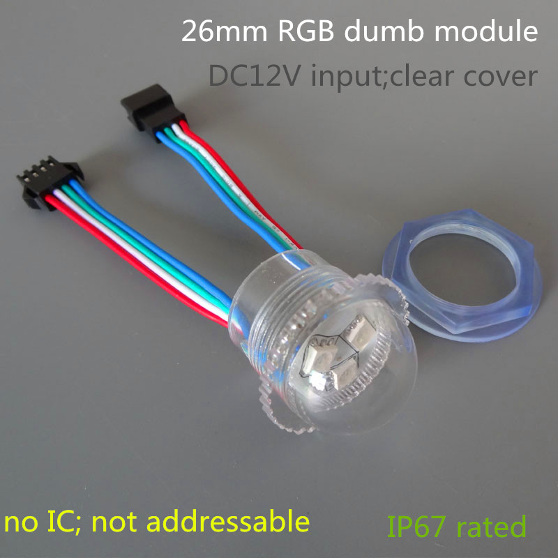 26mm RGB dumb(not smart addressable) led light;3pcs 5050 SMD RGB LED,DC12V input;transparent cover;0.72W;IP67