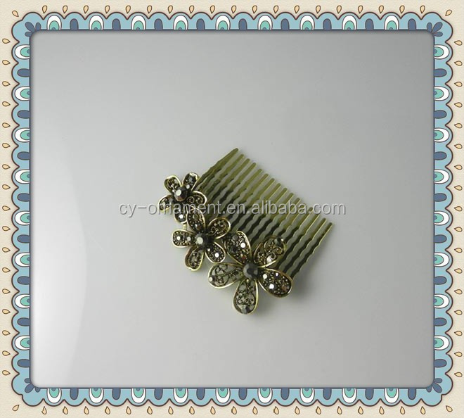 fancy flower rhinestone vintage decorative hair combs