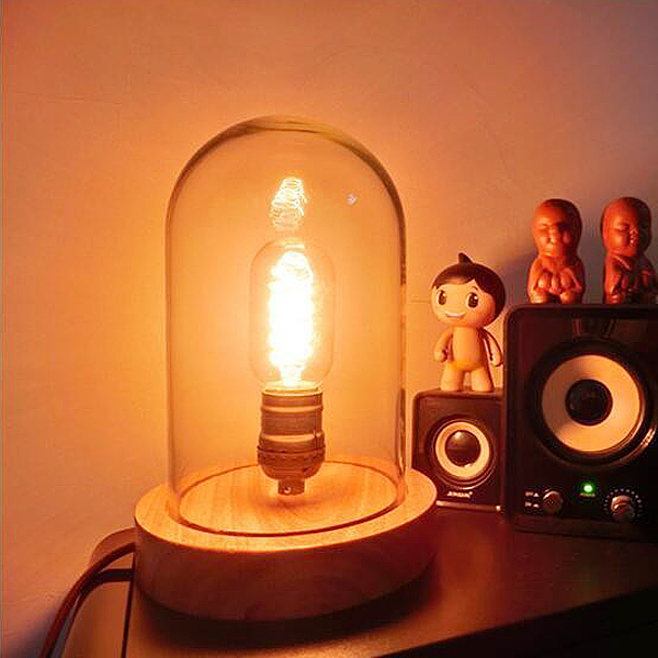 Vintage Table Lamps, Wood Desk Lamp With Glass Shade For Bedroom