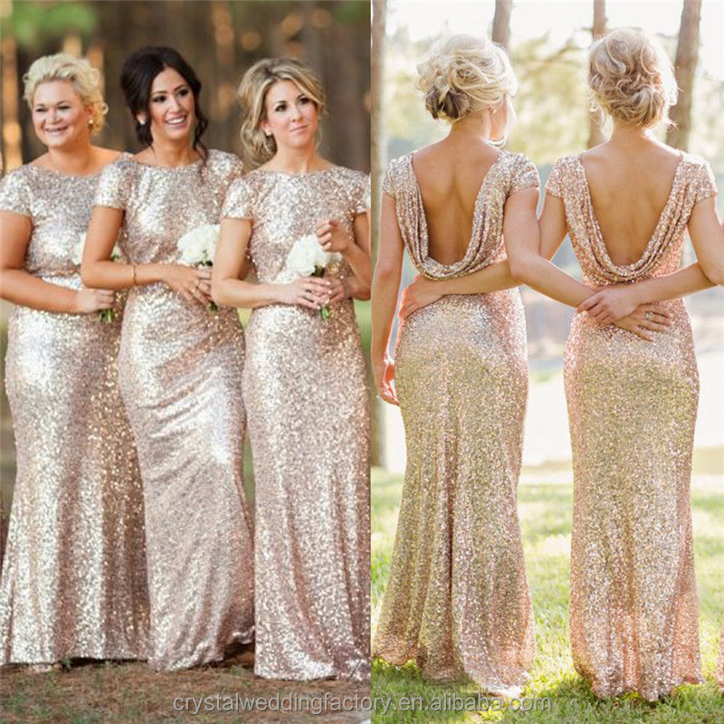 New Design High Quality Cheap Long Champagne Gold Sequin Sexy Long Straight Bridesmaid Dress With O Neck LB11