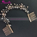 Popular Color Rose Gold Crystal Wedding Hair Comb Bridal Rhinestone Side Comb Wedding Dress Jewellery