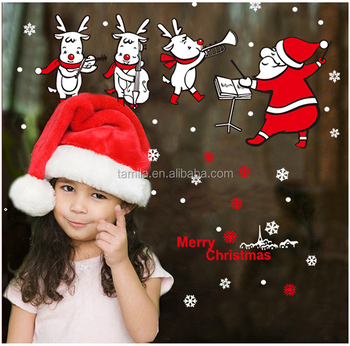 2018 New Kids Cartoon Christmas Santa claus Music Note Shop Window Glass Background Decoration New Year PVC Wall Stickers