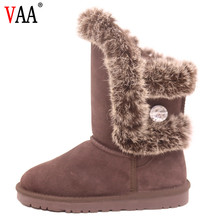 AN-CF-011 Fashion Designer 2018 Genuine Leather Lining Sheepskin Natural Rabbit Fur Custom Boots For Women