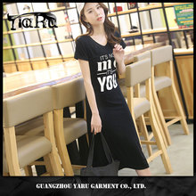 wholesale summer ladies casual dress 100% cotton maxi t shirt dress loose sport dress