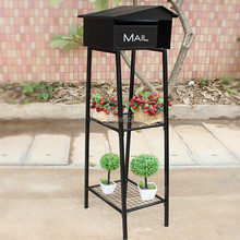 Iron flower pot stand decorative post with mailbox