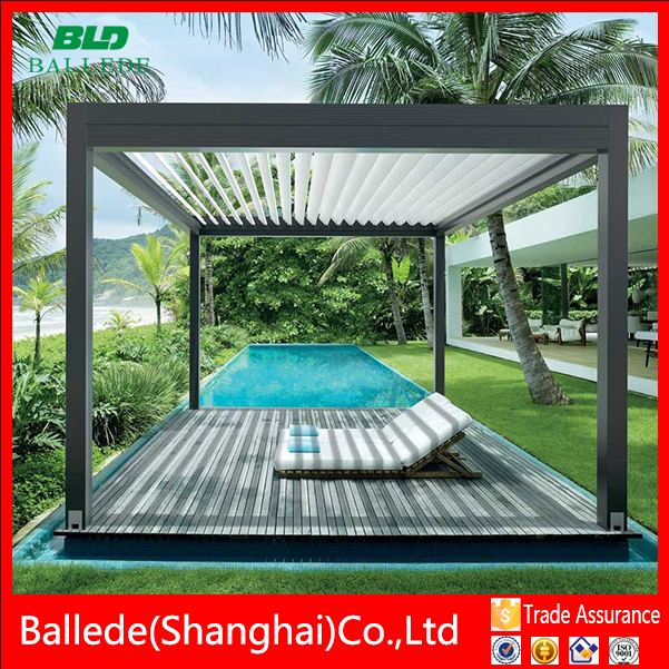 Outdoor aluminum pergola with adjustable louver roof waterproof