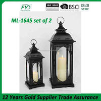 The latest design simple antique church and weding decoration metal lantern ML-1645 set of 2