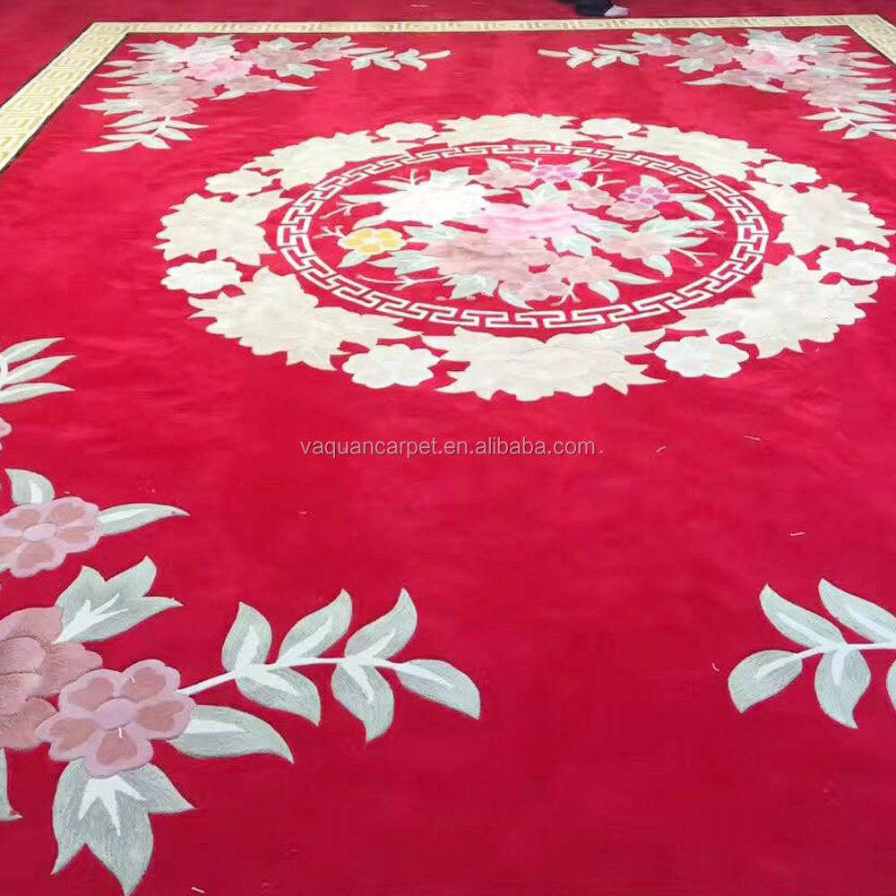 Chinese Red Handmade Wool or Acrylic Commercial Grade Carpet , 5 star hotel carpet