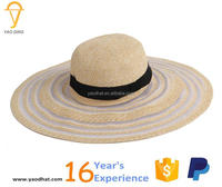 ladies colorful striped wide brim paper straw floppy hats