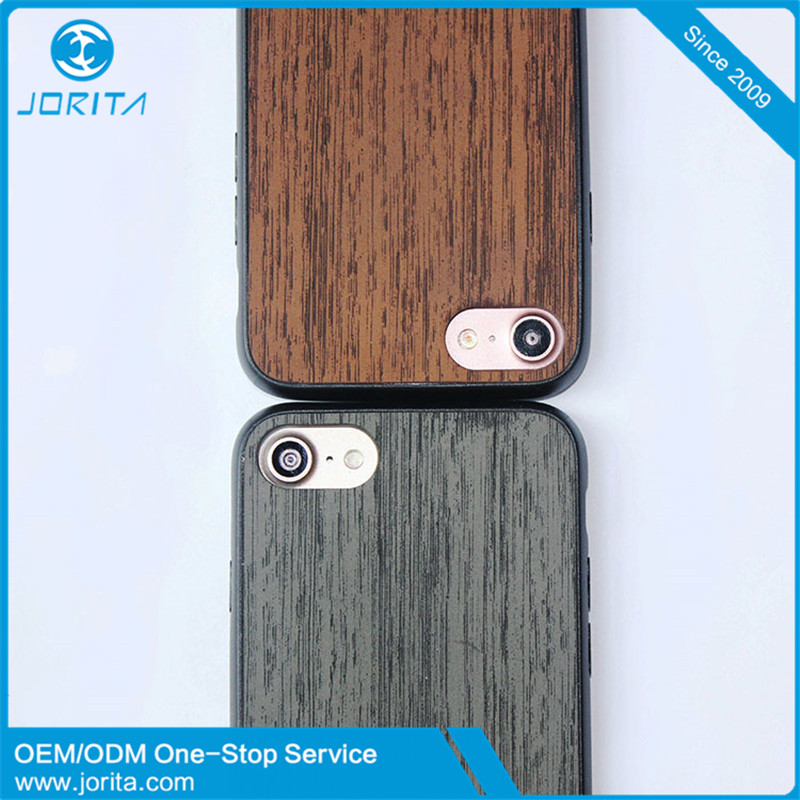 2017 new arrivals Luxury Wood Pattern PU Leather Skin cover + TPU frame + PC back mobile phone case for iphone 7 case
