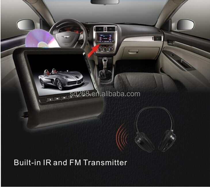 "New 9"" headrest mount car digital panel headrest DVD without pillow built-in USB port SD slot FM transmitter"