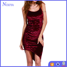 Asymmetric Velvet Cami Dress Sexy Ladies Club Wear Sleeveless Slip Bodycon Mini Dress
