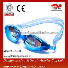 Fashionable silicone tropical brand swimming ladies goggles - Cool Blue